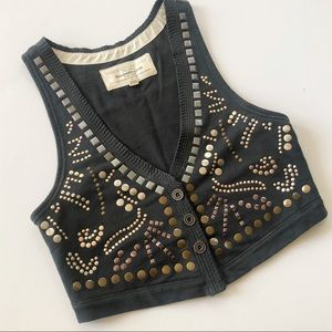 Abercrombie & Fitch Embellished Crop Button Vest